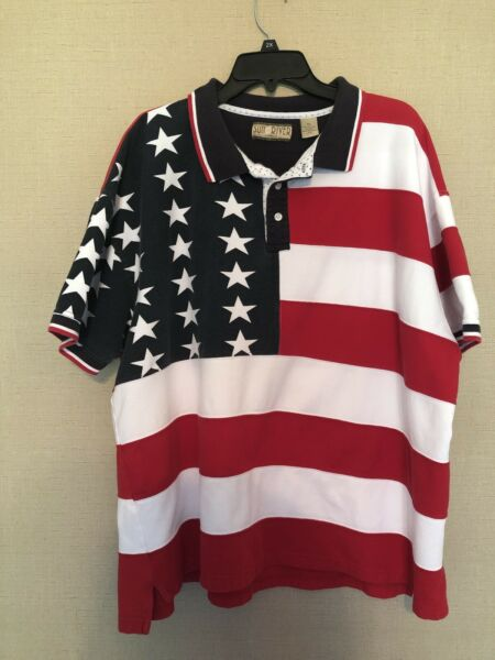 Men#x27;s Sun River Red White Blue American Flag Short Sleeve Polo Shirt size XXL