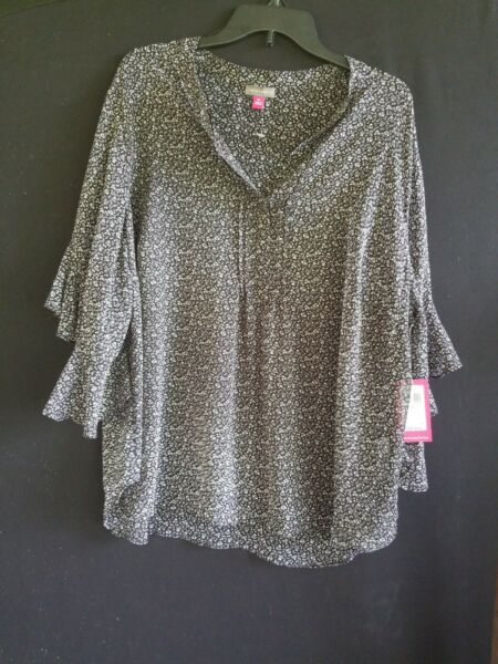 Vince Camuto Top Blouse Flutter Sleeve Black Floral Plus Sleeve Chiffon NWT$89