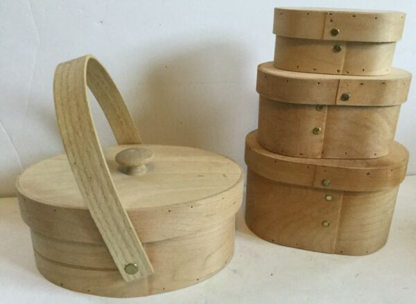 Vtg White Birch Shaker Stackable Pantry Boxes amp; Carrier w Handle Handmade Maine