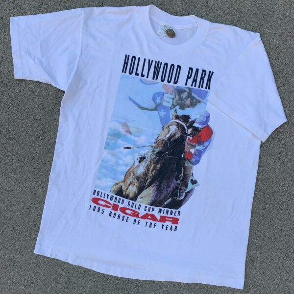 Vintage Horse Racing T Shirt Hollywood Park Cigar 90s Single Stitch USA Made XL