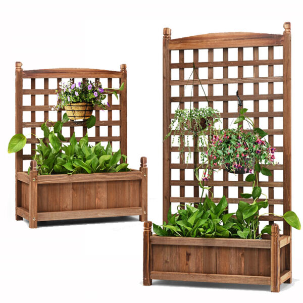 Large Wood Planter Plant Box Raised Bed w Trellis Weather Resistant In Outdoor