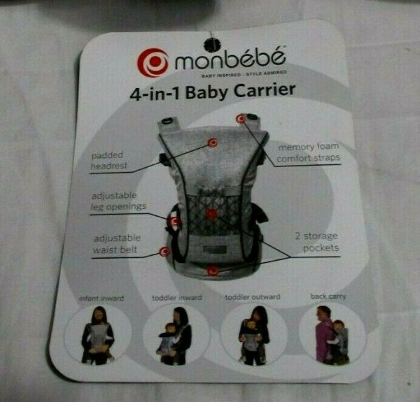 Monbebe 4 Position Baby Carrier with Memory Foam Straps $30.99