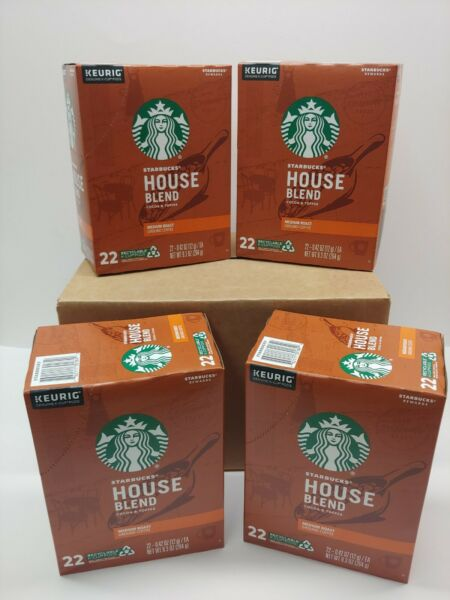 88 Starbucks House Blend K Cup Coffee Pods 4 boxes 1 Case exp 12 16 2020