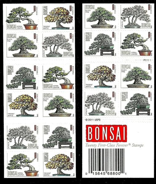 Bonsai US Stamp Booklet Sheet 20 Forever Stamps