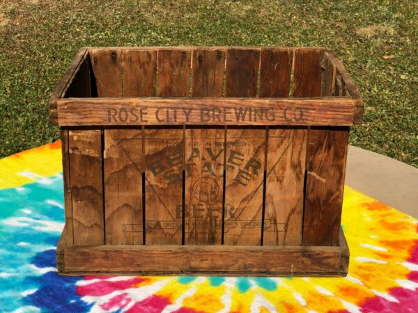 Old Antique Rose City Brewing Beaver State Beer Crate Wood Box Portland Oregon