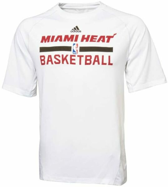 NBA Miami Heat Adidas Climalite Performance Tee Shirt White NEW $12.74