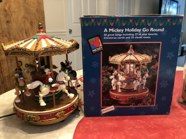 Mr Christmas Mickey Holiday Go Round Carousel 50 Songs And Motion Disney 1996