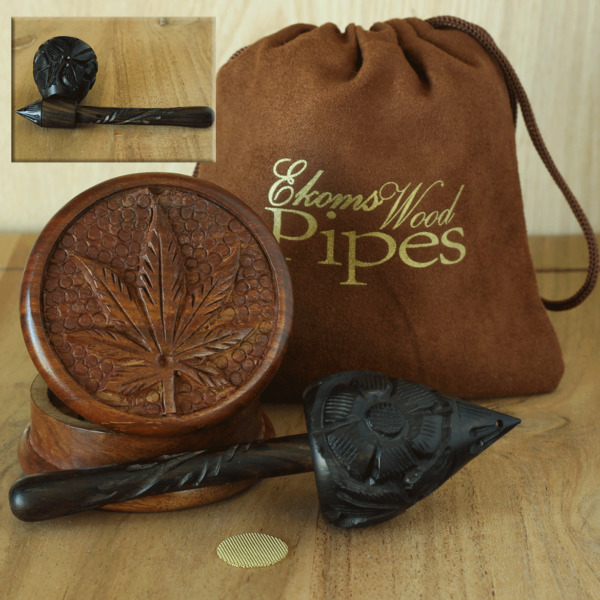 Craved Mushroom Hand Crafted Smoking Pipe Tobacco pot Wood Pipe amp; herb Grinder $18.97