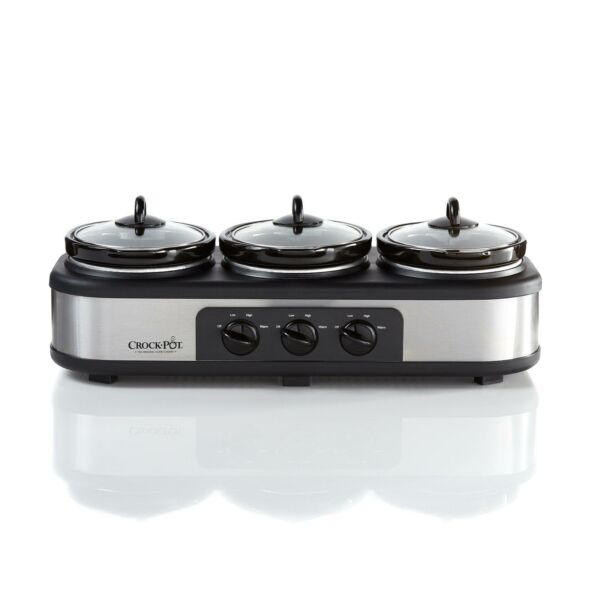 Crock Pot Trio Cook and Serve Slow Cooker Food Warmer Stainless Steel Kitchen