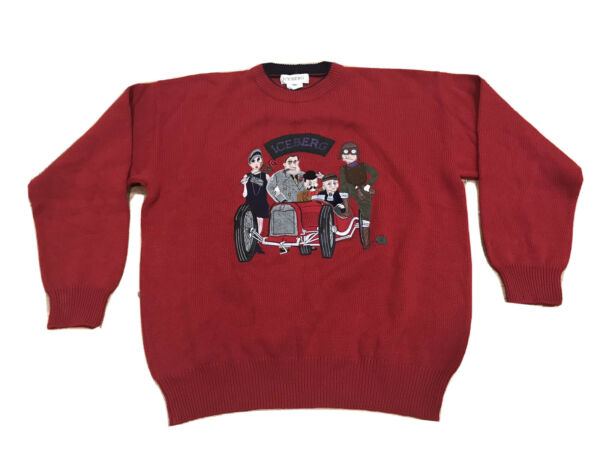 VTG Iceberg RARE Sweater Spell Out Mafia Gangster Squad Mens XL Made In Italy $90.00