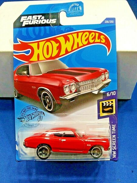 Hot Wheels Fast And Furious #x27;70 Chevelle SS Red Die Cast HW Screen Time #6 10