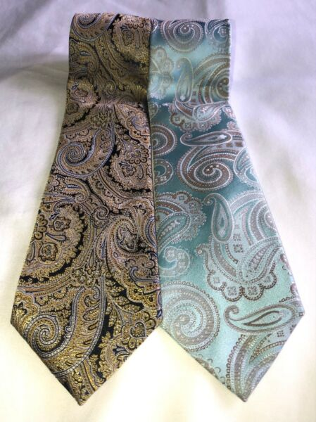 Sean John 100% Silk Necktie Lot of 2 Extra Long Length *Awesome Buy