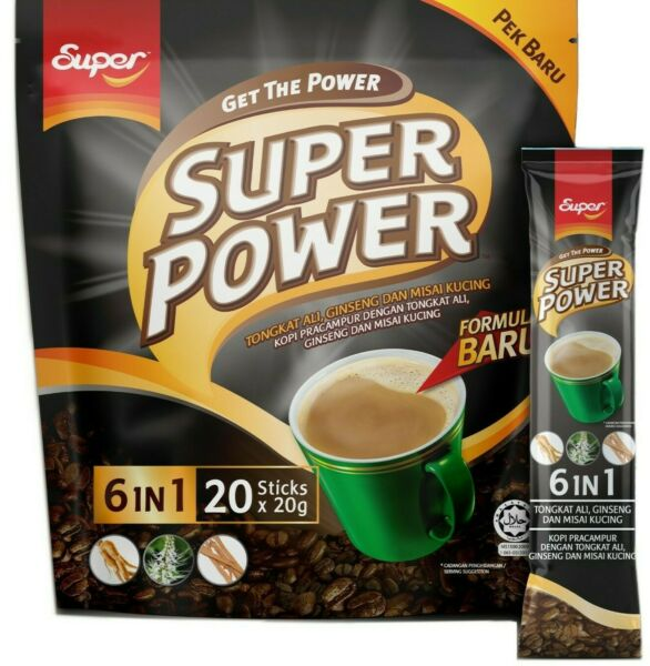 Super Power 6 In 1 Instant Coffee with Tongkat Ali Ginseng 20 Sticks x 20 g $14.50