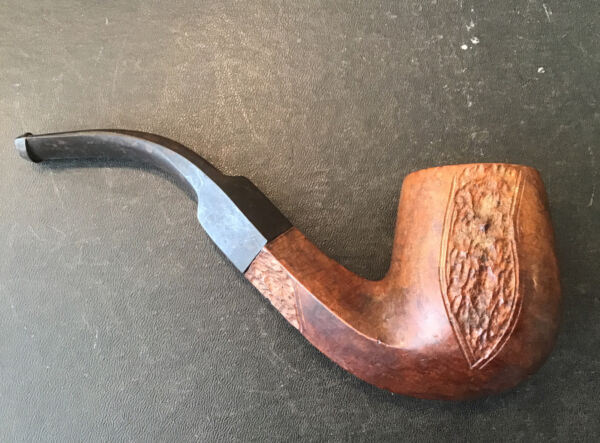 Vintage Imported Briar Carved Wood Pipe Square Smoking Tobacco Free Ship $50.00