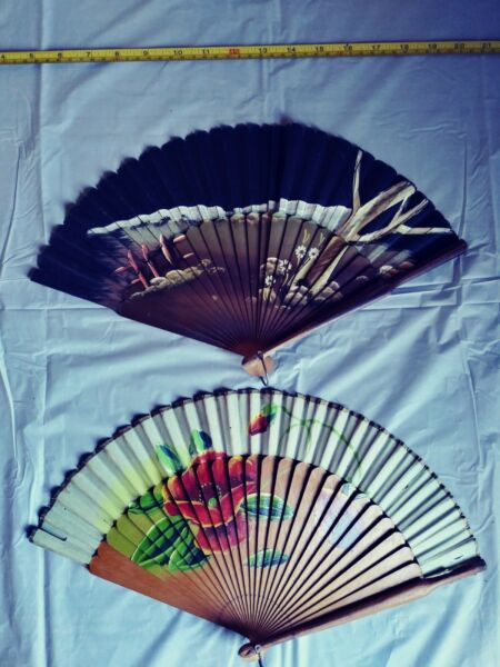 Hand Painted Wood Fan Lot $15.51