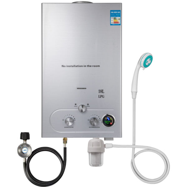 18L 5GPM Hot Water Heater Upgrade Type Propane Gas Instant Boiler W Shower Kit $121.98