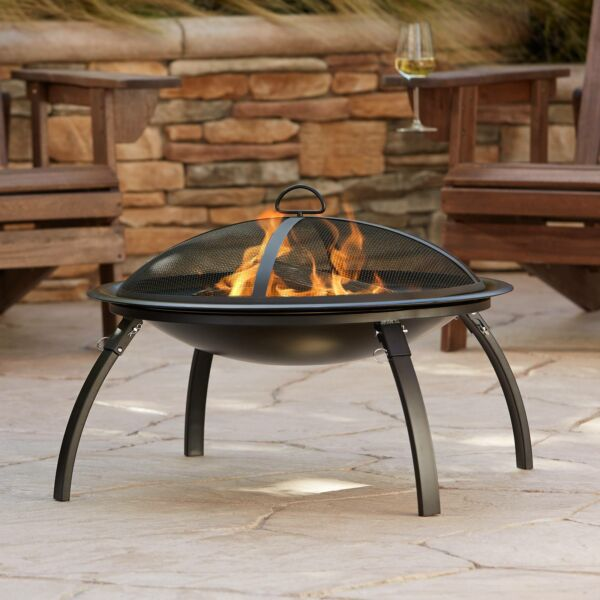 Black Outdoor Fire Pit Round 26quot; Steel Wood Burning Folding Backyard Patio