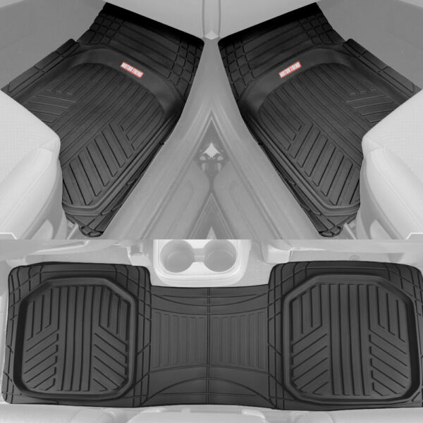 Black Car Floor Mats 3 Piece Set Rubber All Weather Protection for Car Truck SUV $37.99