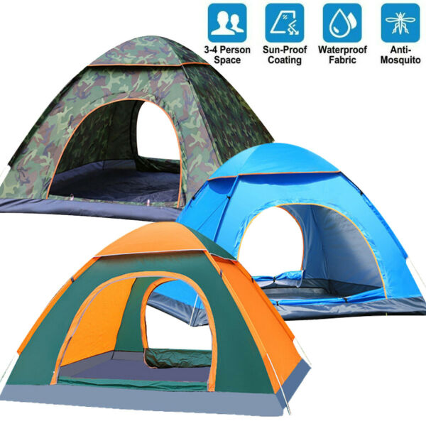US 3 4 Person Automatic Pop Up Outdoor Tent Camping Backpacking Tents Waterproof $26.88