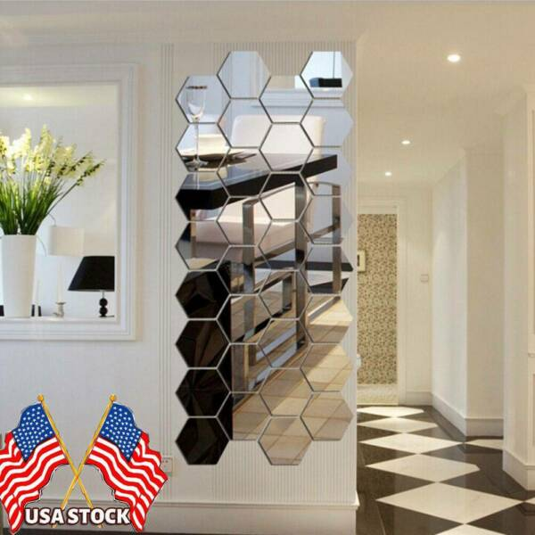 DIY 3D Removable Wall Stickers Mirror Hexagon Vinyl Decal Home Decor Art 12Pcs $10.99