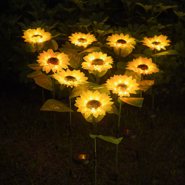 10LED Outdoor Sunflower Solar Light 2 Pack Landscape Lamp for Garden Yard Patio $22.88