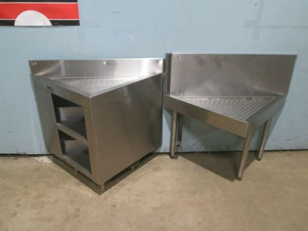 quot;PERLICKquot; LOT OF 2 COMMERCIAL HEAVY DUTY UNDER COUNTER CORNER SS DRAIN BOARDS
