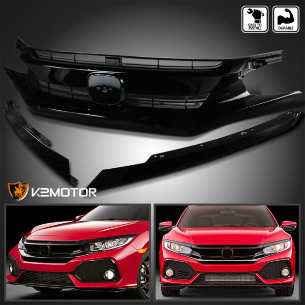 For 2016 2018 Honda Civic Coupe Sedan Front Bumper Hood GrilleEyelid Eyebrows