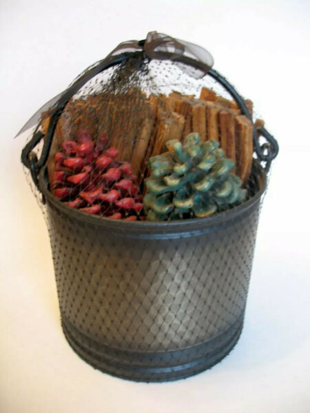 Fireplace Metal Fatwood Carrier Caddy Bucket w Fatwood and Color Pinecones