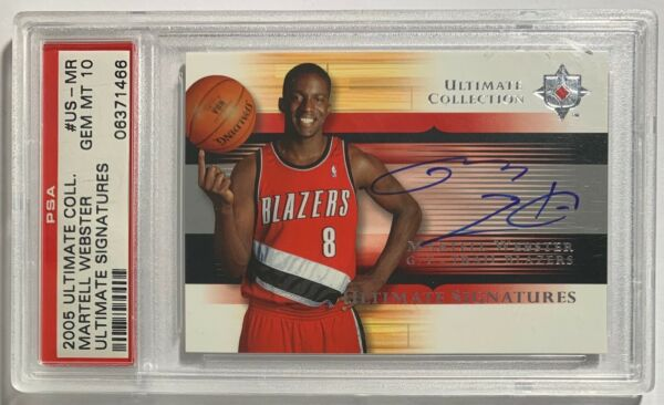 2005 UD Ultimate Collection Martell Webster Auto RC #US MR PSA 10 GEM MINT POP 1 $75.00