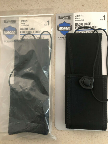 UNCLE MIKE#x27;S 8897 1 BLACK LAMINATED RADIO CASE FIXED BELT LOOP LOT OF 2 SIZE 1