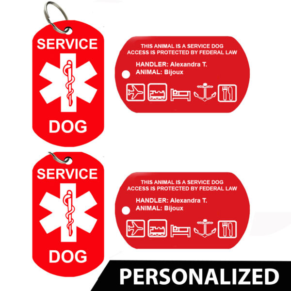 Service Dog ID Card Pet Tags Dog Tags Personalized Set of 2 $7.95