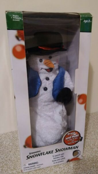 Gemmy 18quot; Animated Snow Miser Snowman Christmas Spinning Snowflake blue vest