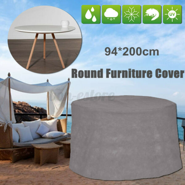 Waterproof Gray Round Patio Table Cover Garden Yard Outdoor Furniture A B1 $25.55