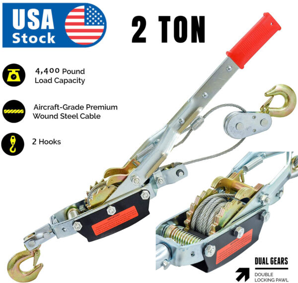 2 Ton Gear Hand Cable Puller Car Trailer Tow Hooks 4400 lbs Come along tighter $29.85