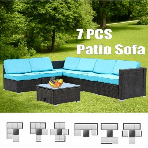 7 PCS Patio PE Wicker Rattan Sofa Sectional Cushioned Furniture In Outdoor Use $449.99