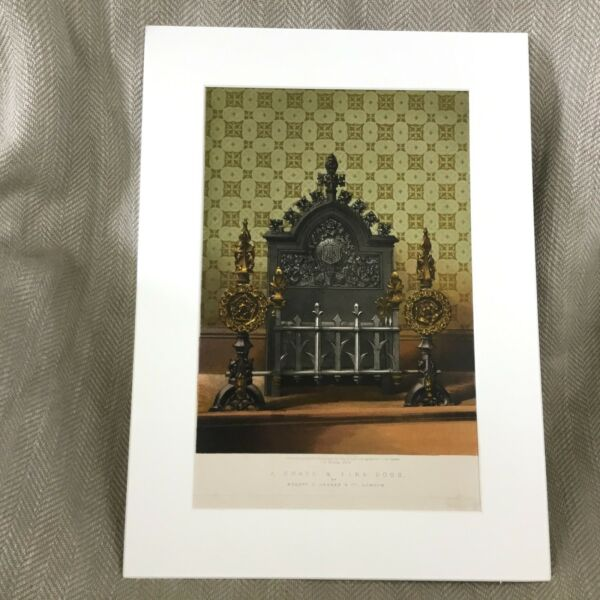 1862 Victorian Print Old Fireplace Wrought Iron Large Antique Chromolithograph