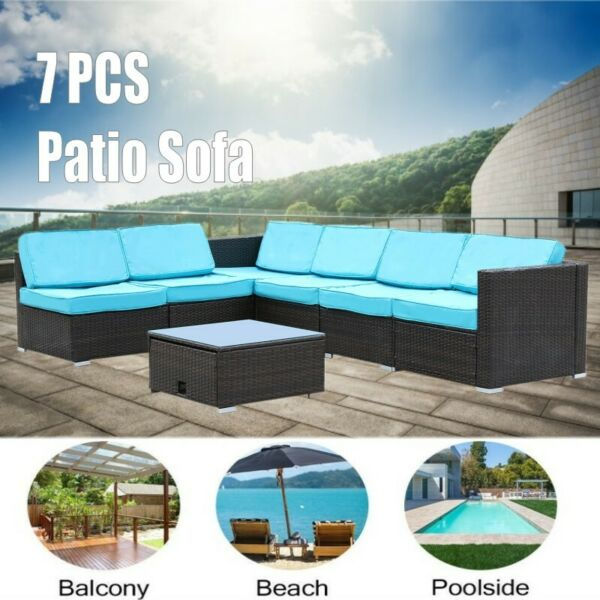 7 PCS Outdoor Patio PE Wicker Rattan Sofa Set Sectional Cushioned Furniture Yard $449.99