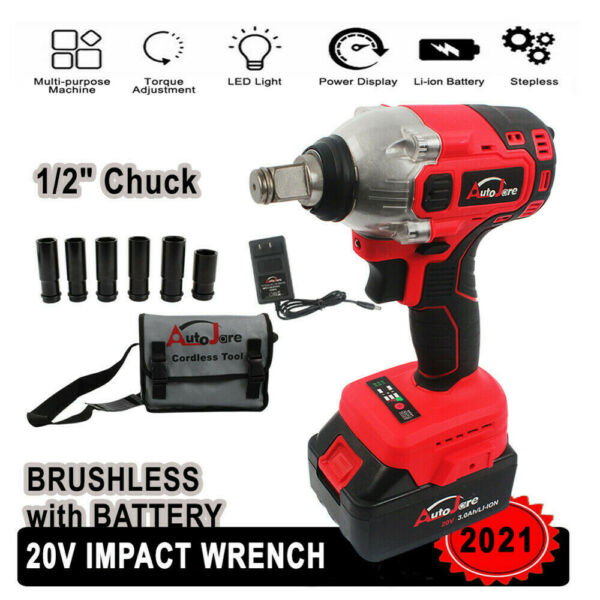 1 2 in Chuck Impact Wrench Cordless Set 18V 20Volt Max Brushless Tool Craftsman