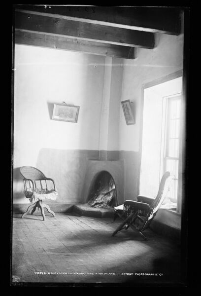 1889 Photo of A Mexican interior the fireplace x
