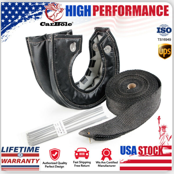 T3 Carbon Turbo Heat Shield Blanket Cover amp; 2#x27;#x27; 50FT Exhaust Header Wrap Tape US $35.99