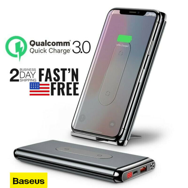 Portable Quick Charge 10000MAH 3.0 QI Wireless Power Bank Fast External Battery