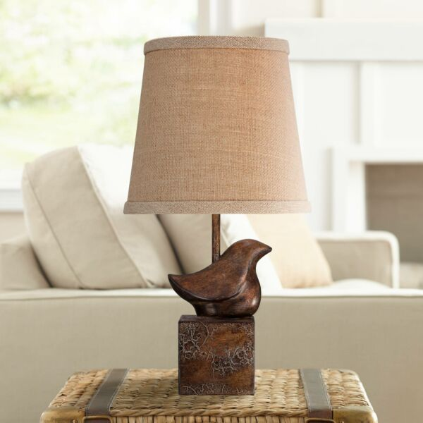 Cottage Accent Table Lamp Bronze Crackle Bird Burlap for Living Room Bedroom