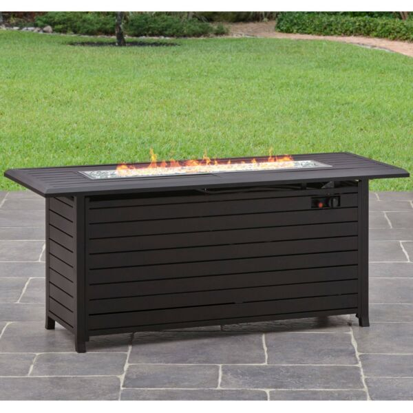 Fire Table Outdoor Aluminum Rectangular Propane Gas Fire Pit Large Cover New