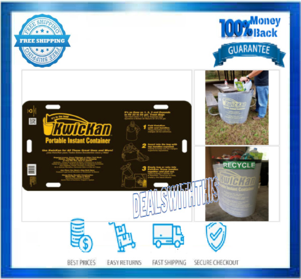 Kwickan Portable Instant Container 33 55 Gal for Bagging Leaves Yard Clippings $24.28