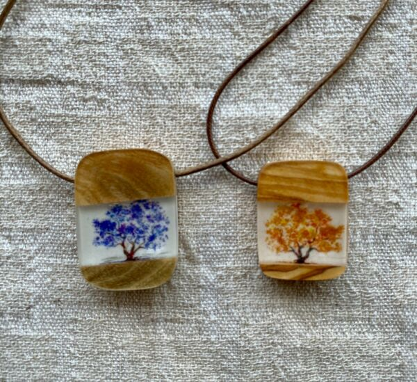 Life Tree Necklace Wood Epoxy Olive Wood Handmade
