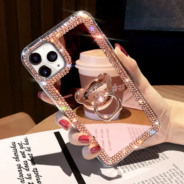 For iPhone 12 Pro Max 11 XS XR 6 7 8 Glitter Bling Mirror Diamond Case w Ring $9.99