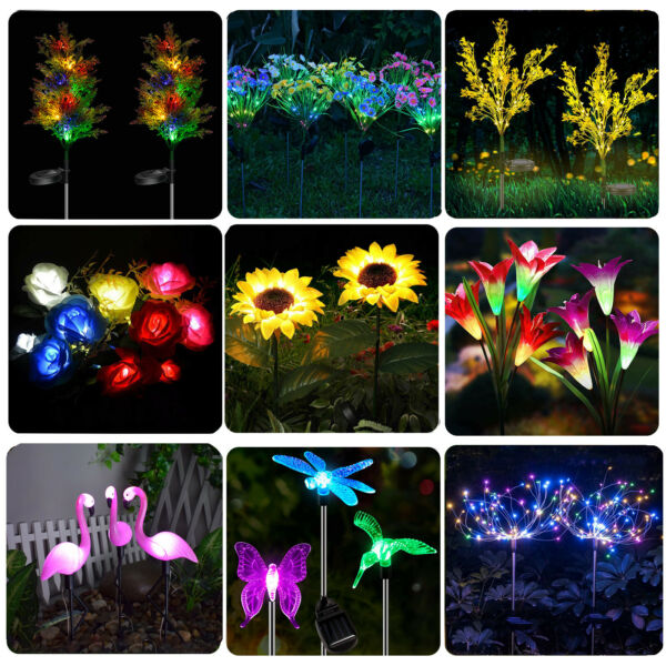 Solar Flower Light Outdoor Garden Lily Rose Sunflower Landscape Light 10 Style