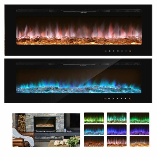 1500W Electric Fireplace Insert 36quot; Heater Wall Mounted W Remote amp; Touch Screen