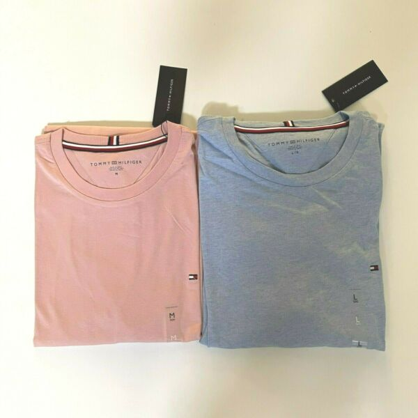 NWT Tommy Hilfiger Men#x27;s Essential Long Sleeve Pink Crew Neck T shirt All Sizes $17.98