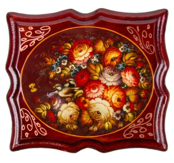 Keepsake with Floral Pattern Zhostovo Style Russian Lacquer Box
